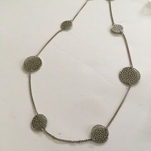 Marlyn Schiff Necklace Long Silver Tone